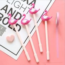 2 pcs/lot  Cute Flamingo modeling gel Pen kawaii stationery School Supplies Office writting pens paperlaria