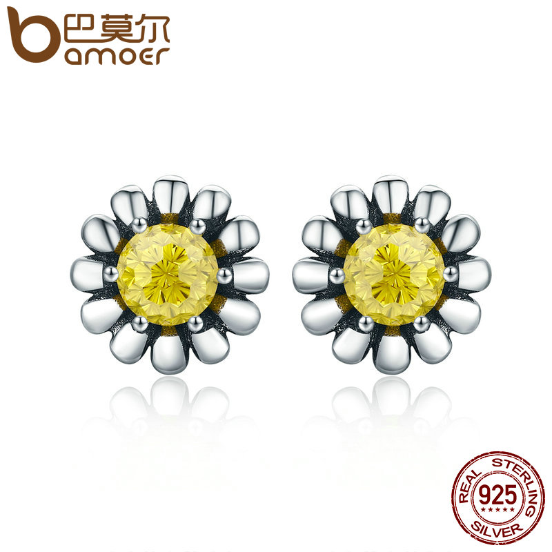 BAMOER 100% Genuine 925 Sterling Silver Yellow Daisy Flower Clear CZ Stud Earrings for Women Fine Silver Jewelry Gift SCE255 bamoer original 925 sterling silver dazzling daisy flower stud earrings for women jewelry pas434