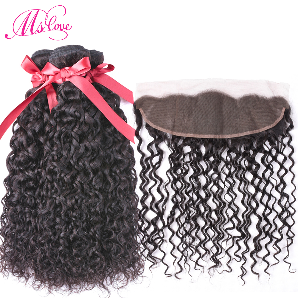 Ms Love Water Wave 2 3 Human Hair Bundles with Frontal Remy Peruvian Hair Bundles With
