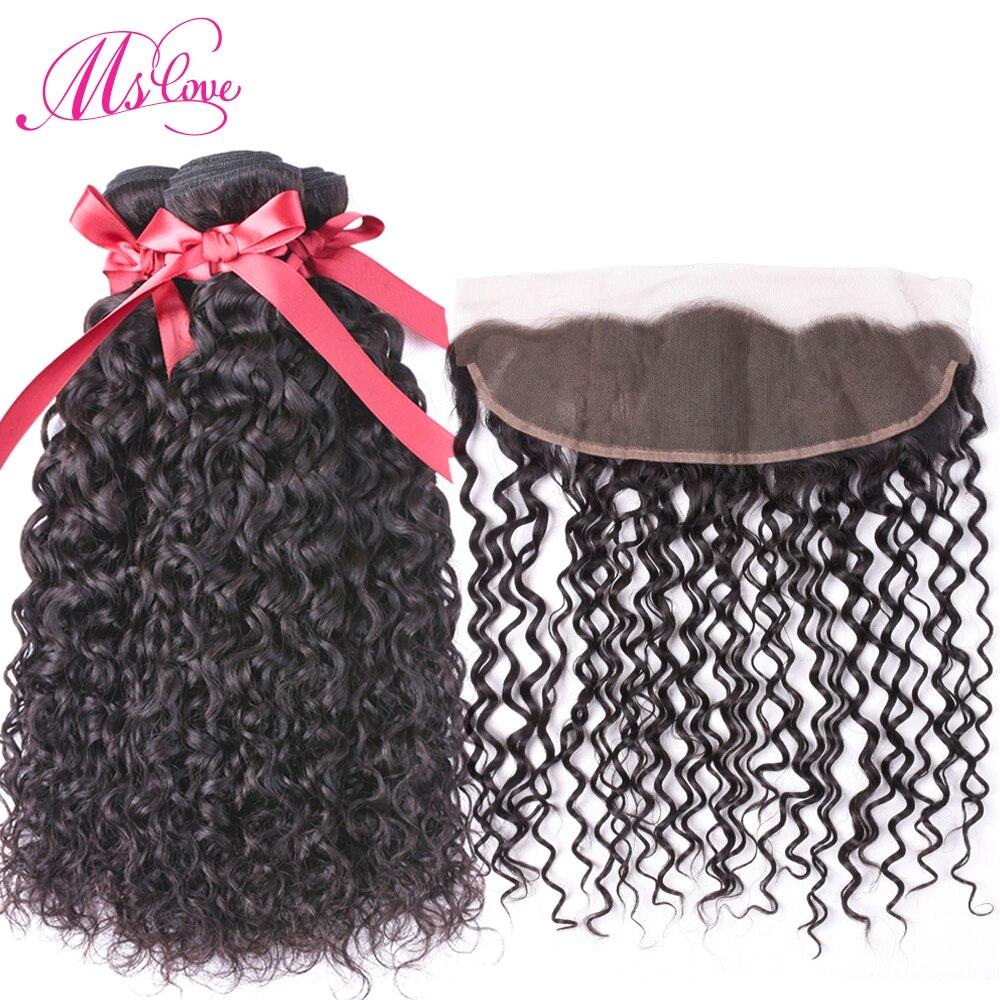 Mslove Water Wave 2 Bundlar med Frontal Closure Peruvian Hair Weave - Skönhet och hälsa