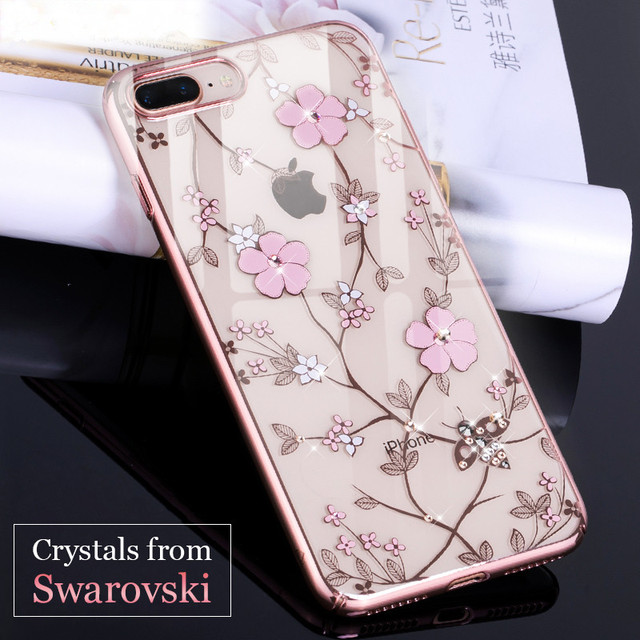 b0dd9933d KAVARO Case for iPhone 7 8 Plus Case Crystals from Swarovski Diamond PC  Plated Bees Flower Cover for iPhone 8 7 Plus Cover Coque