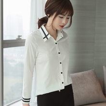 a55f9cf8a7 JOYINPARTY 2018 moda femenina elegante pajarita blusas blancas gasa turn  down camisa de cuello señoras tops escuela blusa mujere.