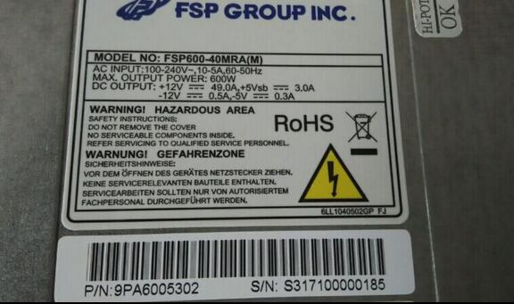 FSP500-60EVML for FSP600-40MRA(M) YM-2751E 500W Power supply well tested working
