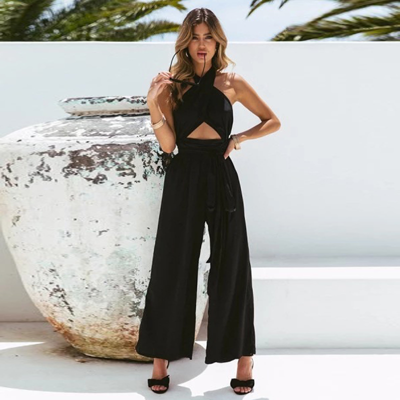 Missufe Casual Loose Rompers Streetwear High Waist Overalls Female Cross Back Halter   Jumpsuit   Wide Leg Tunic Long Playsuit Women