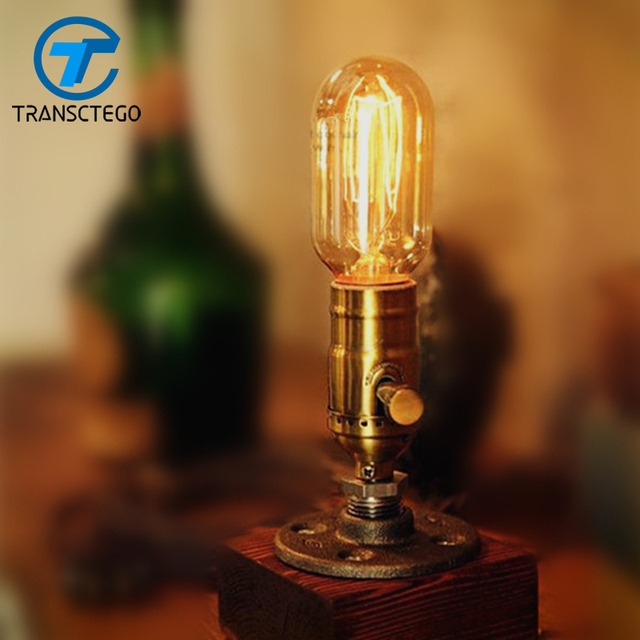 Schreibtisch Lampe Dimmbar Tisch Licht Holz Edison Birne 220 V