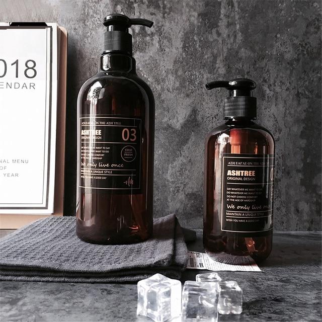Scandinavian Bath Shampoo Storage Bottle Chic Brown Liquid Lotion Bottle Nordic Travel Storage Bottle Organizer Decor 250 500ml