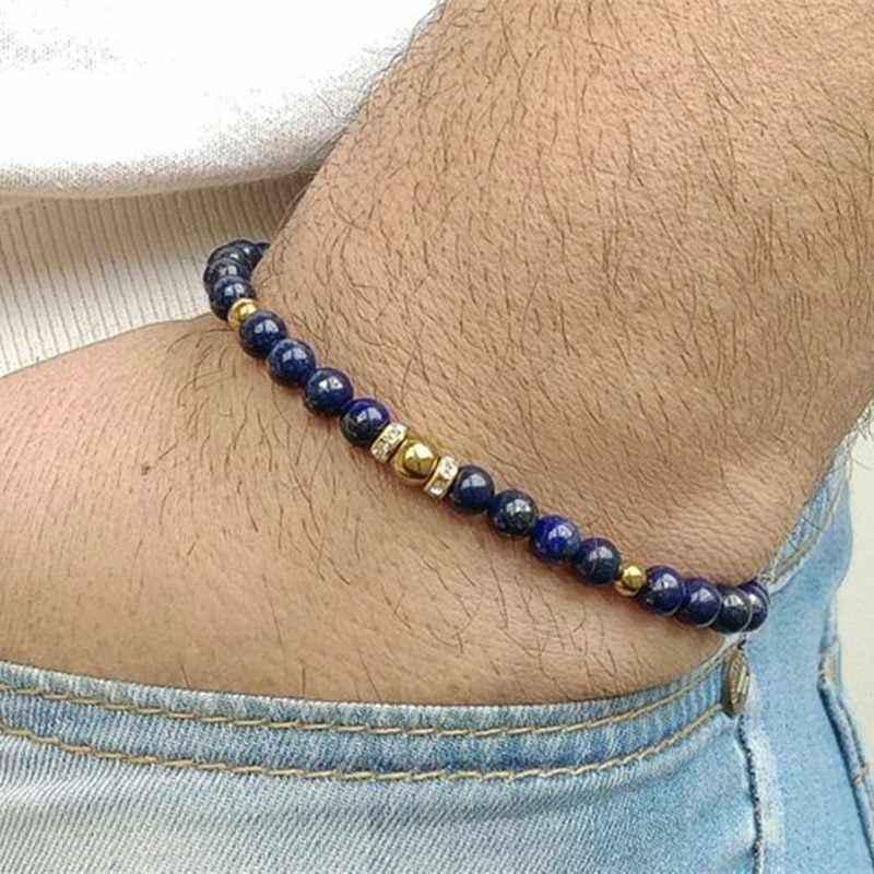 Klasyczna nowa bransoletka z paciorkami moda męska 6mm prosty kamienny koralik uroku bransoletki i Bangles dla mężczyzn biżuteria prezenty
