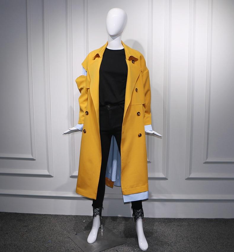 Streetwear Oversize 2018 Évider Automne Mode Patchwork Trench Boutonnage Jaune Double Hiver Designer Femmes Manteau Style g4twxp4Pq