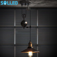 SOLLED Creative Retro Up down Lift Pulley Iron Chandelier Lamp without Bulb