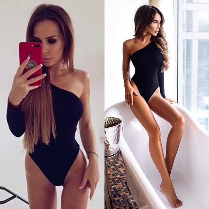 สีดำหนึ่งไหล่ Basic Bodysuit ซี่โครงถัก Elegant ผู้หญิงเซ็กซี่ Bodysuits ฤดูใบไม้ร่วง 2019 แฟชั่นแขนยาว Skinny