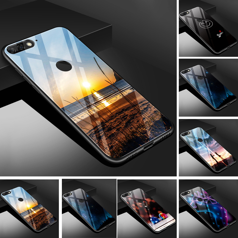 For Huawei Y6 Prime Case Glass Back Cover PC Protector Phone Case For  Huawei Y6 Prime ATU-L31 Soft TPU Bumper Capa
