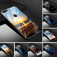 For Huawei Y6 Prime 2018 Case Glass Back Cover PC Protector Phone Case For Huawei Y6 Prime 2018 ATU-L31 Soft TPU Bumper Capa