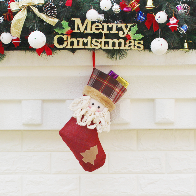 new year decor christmas decorations for home 2018 santa claus sock christmas tree decorations cheap christmas ornaments snow in stockings gift holders - Cheap Christmas Decorations