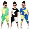 Летняя мода Новый ребенок мальчик установленные одежды звезда хит цвет хлопка с коротким sleeveled рубашка + брюки 2 шт. костюм спорт набор детей 2-7Y