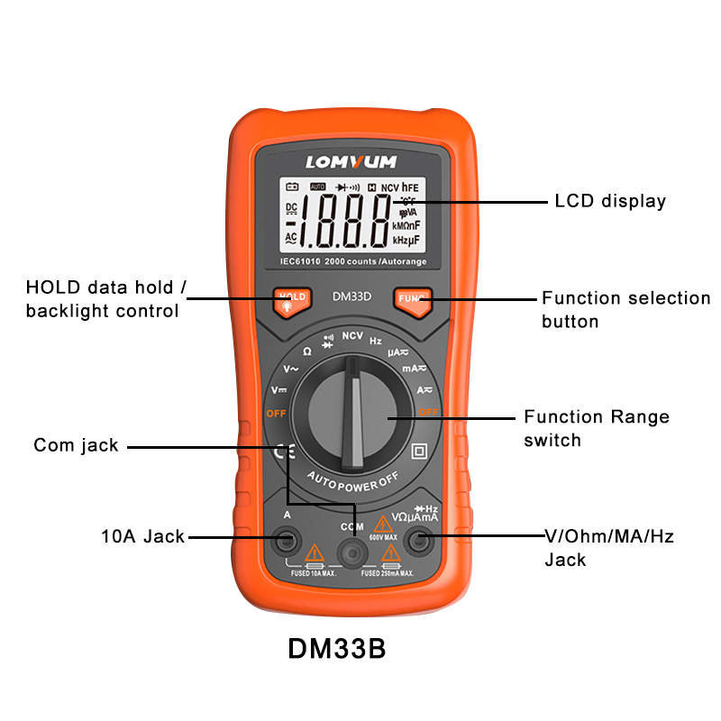 Image 3 - LOMVUM NCV Digital Multimeter 6000 counts Auto Ranging AC/DC voltage Meter Flash Back light Large Screen Ohm Tester Polimetro-in Multimeters from Tools