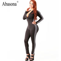 Abasona Winter Zip Up V Neck Bandage Jumpsuits Striped Side Long Sleeve Skinny Sportsuit Sexy Night