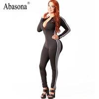 Abasona Zima zip up v neck bandaż kombinezony Paski boczne sportsuit skinny Sexy night club pajacyki kobiet kombinezon z długim rękawem