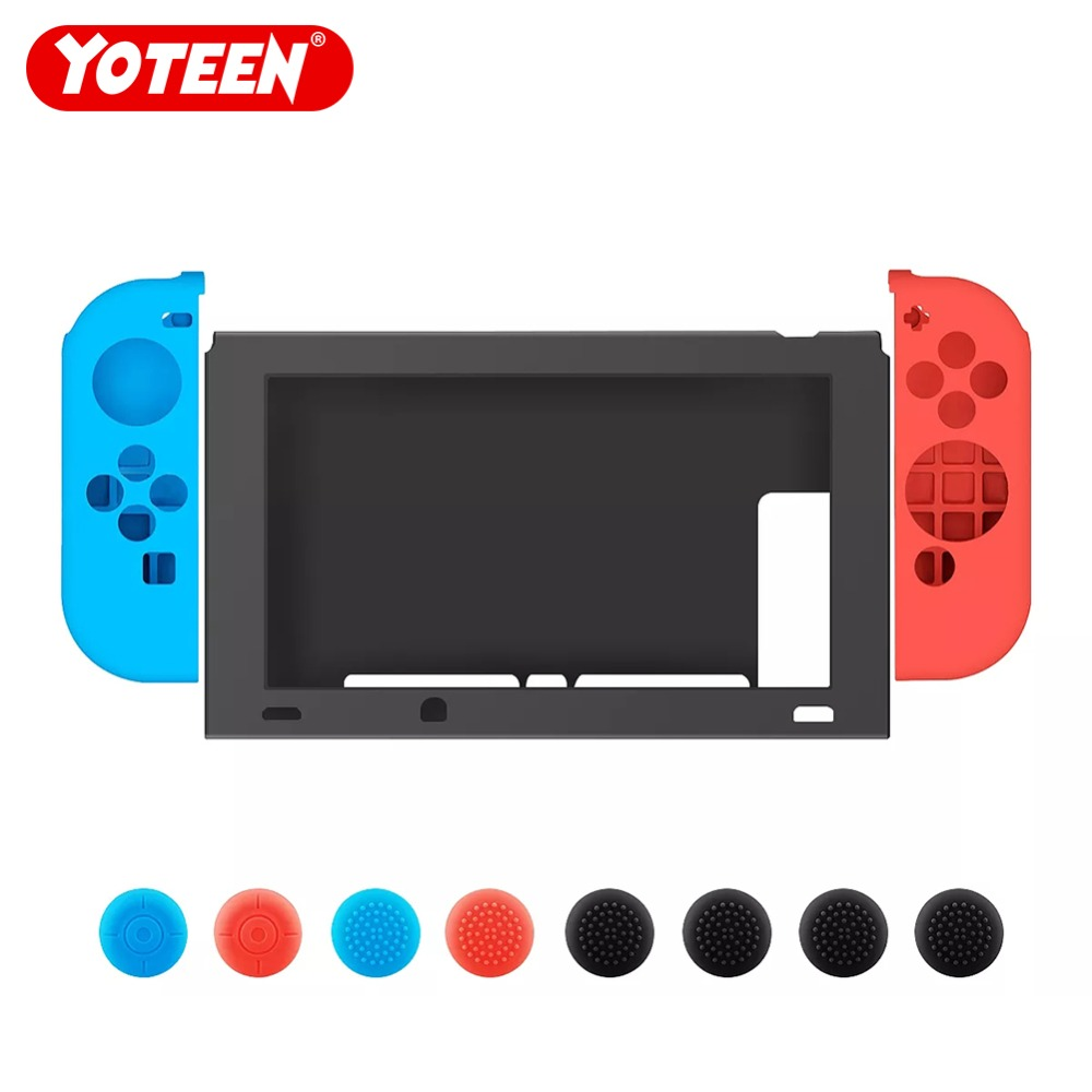 Yoteen 1 Set Case For Nintendo Switch Silicone Soft Protective Cover With Joy-Con Thumb Stick Caps