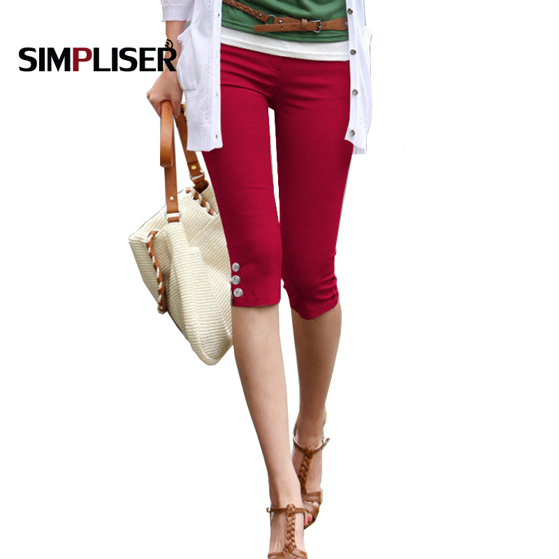 Summer Capri Leggings For Women 2019 Red Black White Stretch Pencil Pants Ladies Casual Skinny Trousers Plus Size 4xl Trousers