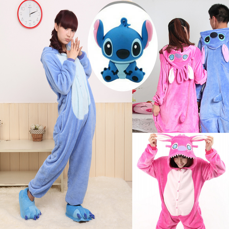 b202554afc54 New Design 2015 Animal Blue Pink Stitch Onesie Adult Unisex Pajams Cosplay  Costume Pajamas All In One Party Jumpsuit Size XXS XL