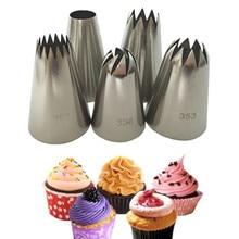 5 Cái/bộ Lớn Tiếng Nga Ống Dạng Ống Dẫn Bánh Ngọt Vòi Phun Đầu Dụng Cụ Nướng Bánh Bánh Trang Trí Đồng Hồ Thép Không Gỉ Vòi Phun Cupcake