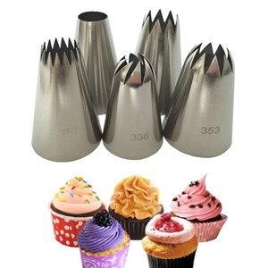Image 1 - 5 Cái/bộ Lớn Tiếng Nga Ống Dạng Ống Dẫn Bánh Ngọt Vòi Phun Đầu Dụng Cụ Nướng Bánh Bánh Trang Trí Đồng Hồ Thép Không Gỉ Vòi Phun Cupcake