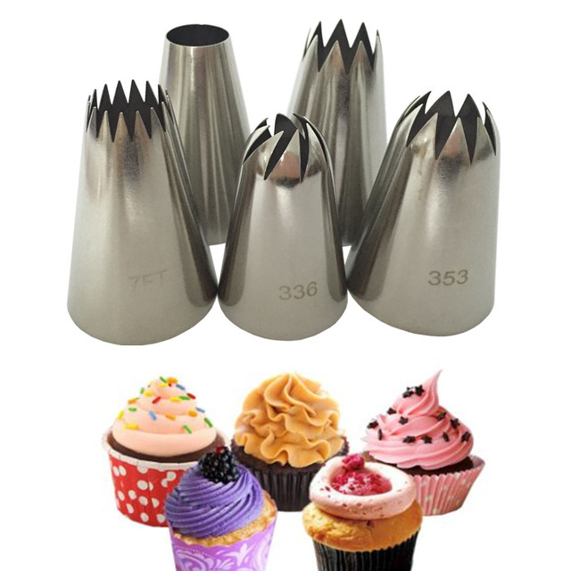 5pcs / Set Large Russian Icing Piping Pastry Nozzle Tips Baking Tools Cakes Decoration Set Stainless Steel Nozzles Cupcake