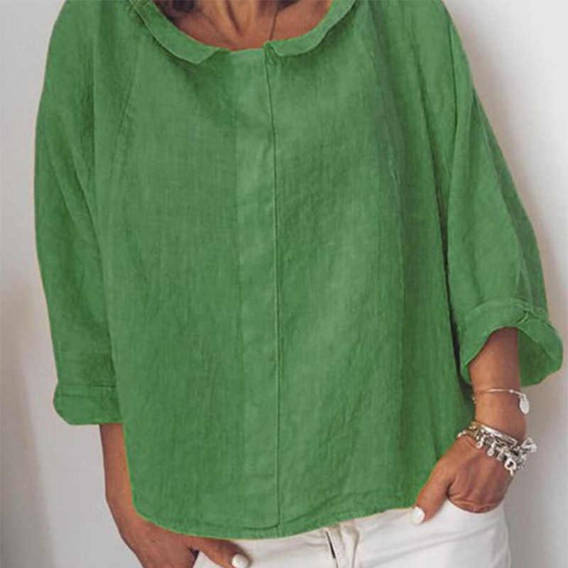 レディース綿リネンターンダウン襟長袖シャツブラウス固体プラスサイズ 5XL 女性トップス 2019 夏カジュアル女性ブラウス