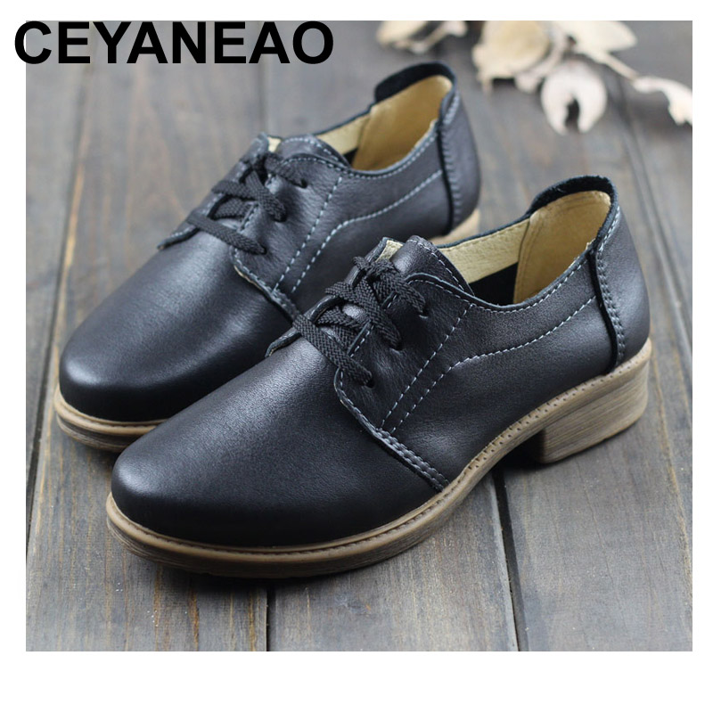 CEYANEAO Women Shoes Genuine Leather Women Oxford Shoes Round toe lace up Ladies Flat Shoes Female Spring Footwear (1231-1)CEYANEAO Women Shoes Genuine Leather Women Oxford Shoes Round toe lace up Ladies Flat Shoes Female Spring Footwear (1231-1)