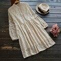 Das mulheres da primavera casual sweet camada de manga comprida de renda floral tie cintura gola fêmea bonito princess dress mori menina u561