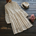 Spring Women's Casual Sweet Long Sleeved Lace Floral Layer Tie Waist Stand Collar Cute Female Princess Dress Mori Girl U561