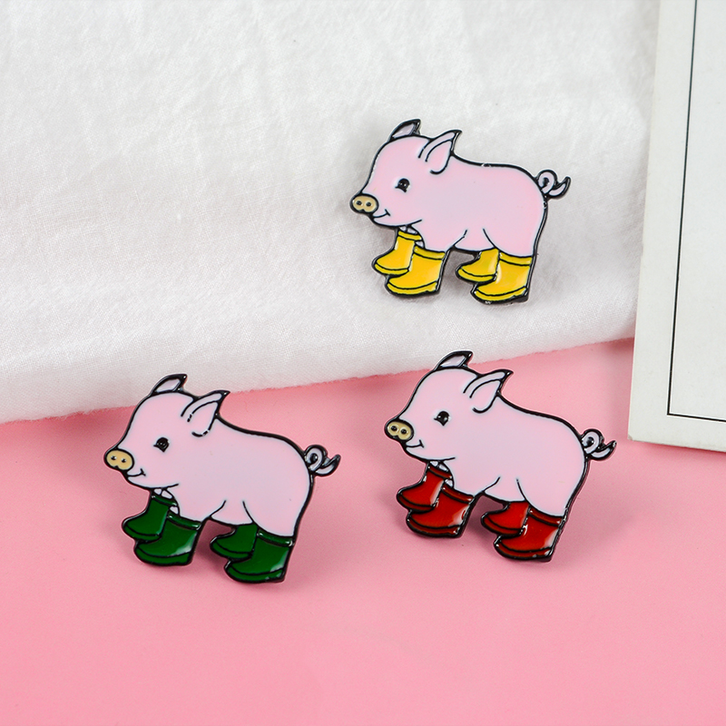 Super Lovely Baby Pig ! Three Color Cartoon Animal Pink Grunt Pig In Rain Boots Galoshes Hard Enamel Brooches Pins For Gifts(China)