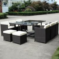 11 шт. плетеные Ротанговые патио уличные обеденные подушки сиденья столы и стулья высокое качество садовая мебель HW52190 +