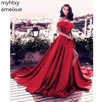 New Sexy Cheap Boat Neck Off The A-line Train Satin Red And Blue Pink Evening Dresses Long Sleeves Party Gowns Robe De Soiree