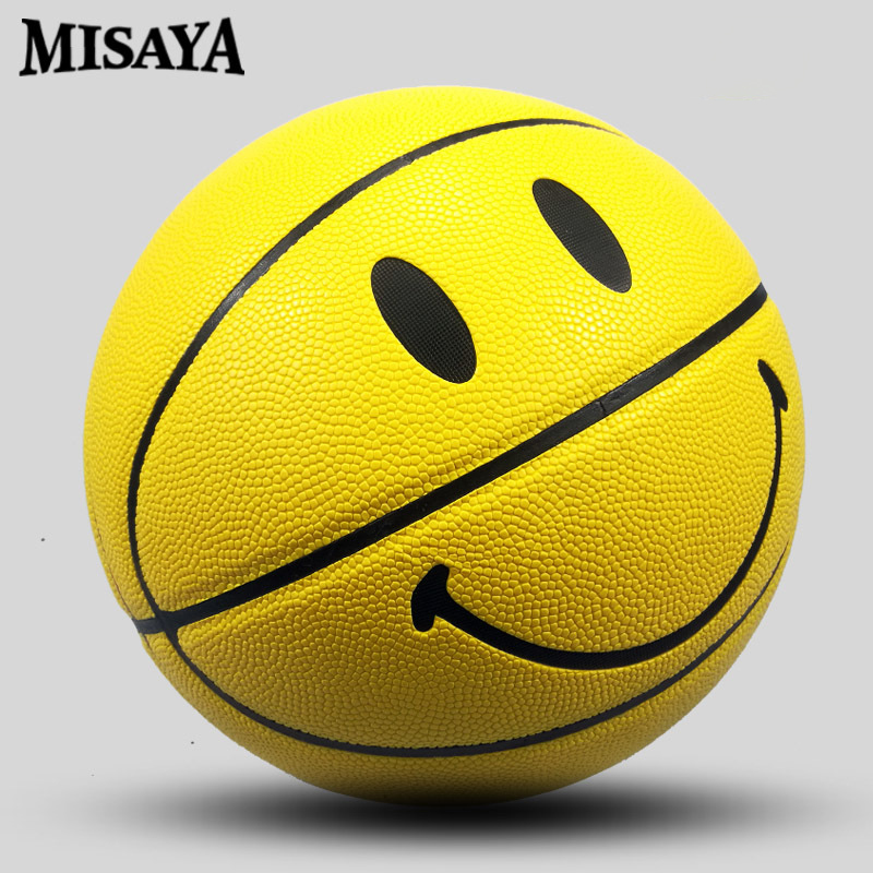 No. 4, No.5, 7 Smiling Face Youth Basketball PU Materia Official Size7 Basketball Free With Net Bag+ Needle