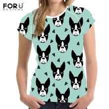 FORUDESIGNS T shirt Women Bull Terrier French Bulldog Printing T-shirt Teenagers Cartoon Pattern Tops for Girls Kawaii Tee Shirt