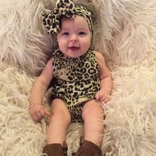 2016 Summer Fashion Newborn Girl Baby clothes Leopard Rompers Infant Jumpsuit Cotton Playsuit with Headband Outfits Suit