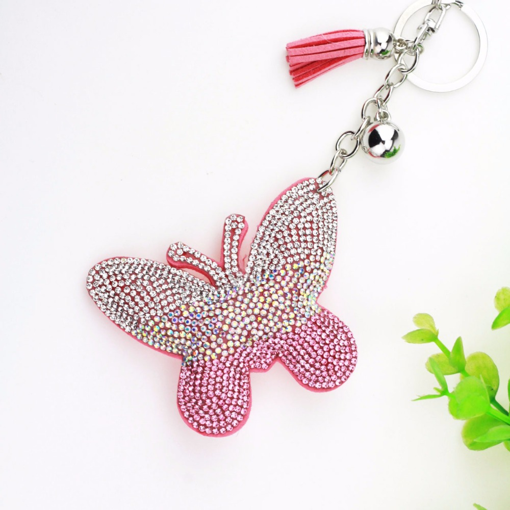 Rhinestone Inlaid leather Butterfly Keychain Womens Accessories Keyrings