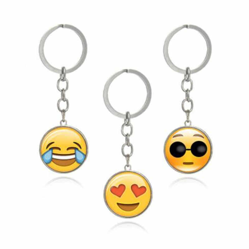 Lovely Fashion Emoji WKOUD Emoticon Engraçado Chaveiros chaveiros de Prata Cor Dobro-lado de Vidro Cabochão Anel Chave Chaveiro