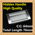 Length 76mm Hole Pitch 64mm Zinc alloy hidden handle Kitchen Furniture handle drawer handle
