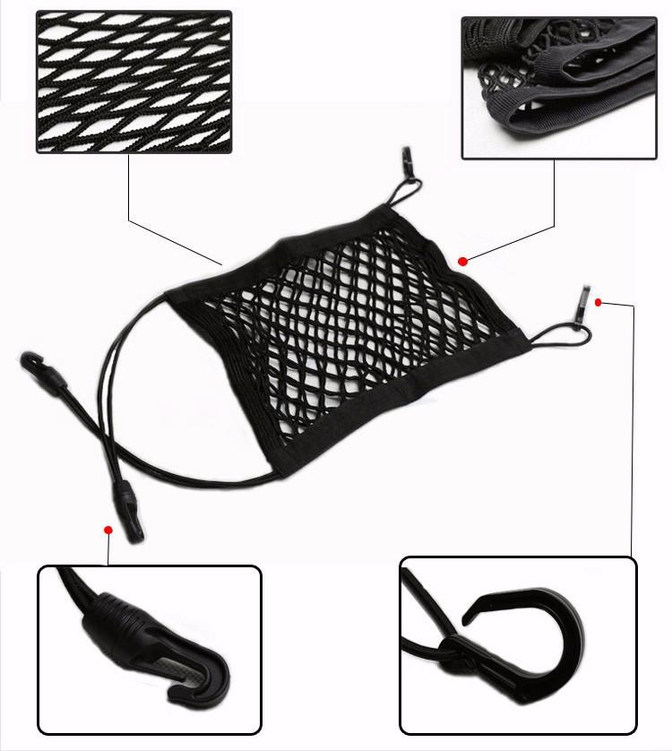24X25cm Universal Elastic Mesh Net trunk Bag/Between Car organizer Seat Back Storage Mesh Net Bag Luggage Holder Pocket 10