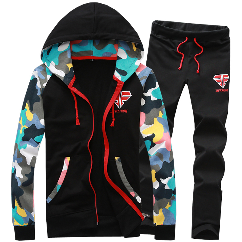 2017 Spring Autumn New Fashion Hood Tracksuit Men Casual Slim Leisure Suit Men Youths Lovers Sets 3 Colors S-XXL AYG205