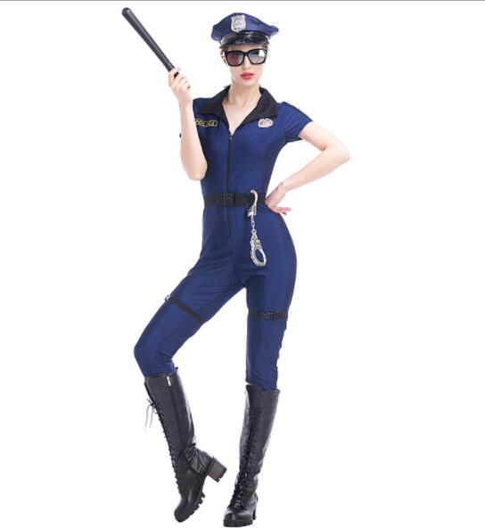 blue lady Halloween Officer Policewomen Cosplay Fancy Dress Outfit Sexy Erotic Fetish Cop Police Costume jumpsuits  A074