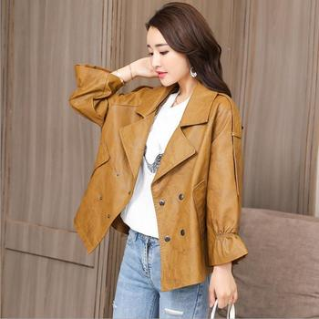 Real photo 2018 autumn new fashion loose Moto & Biker style women Faux Leather jackets coats long sleeve ruffles PU coats gx1281 Косуха