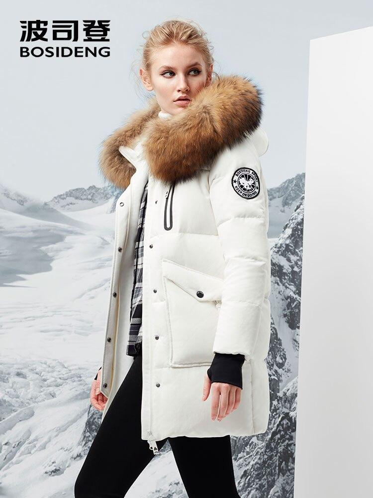 BOSIDNEG new women harsh deep winter thick down coat Long GOOSE DOWN parka thick big natural fur collar -30 B70142012