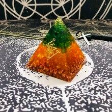 Orgonit Piramidi Gabriel Maripura Çakra Doğal Citrine Yeşil Kristal Ortadan Kaldırır Yaşam Negatif Enerji Reçine El Sanatları