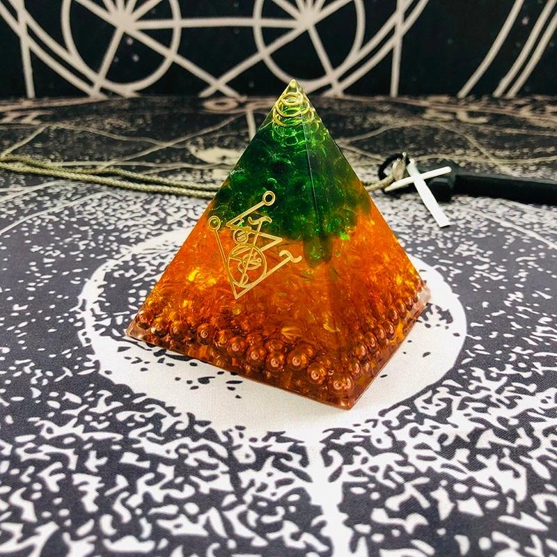 Orgonite Pyramid Gabriel Maripura Chakra Natural Citrine Green Crystal Eliminates Life Negative Energy Resin Crafts