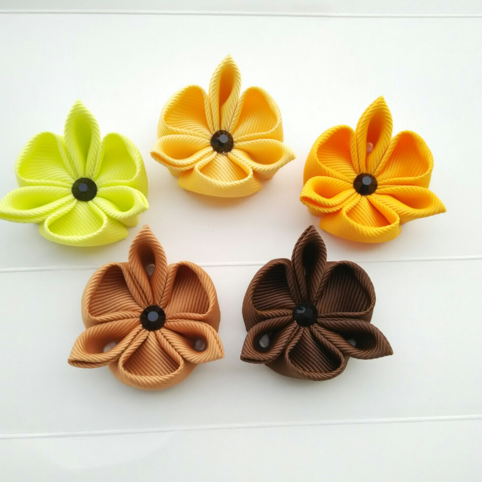 Custom Kanzashi Clover Flowersred Orange Yellow Green Blue Purple