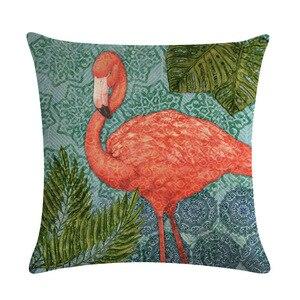 Image 3 - 漫画フラミンゴ鳥ピンククッションカバーグリーン熱帯植物プリントリネン枕ケース地中海装飾車ホームルーム