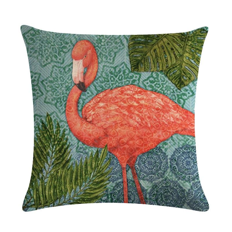 Image 3 - Cartoon Flamingo Bird Pink Cushion Cover Green Tropical Plants Print Linen Pillow Case Mediterranean Decorative Car Home Room-in Cushion Cover from Home & Garden